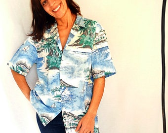 Vacation shirt men Hawaiian t-shirt blue green oversized Hawaii printed shirt mens cotton shirt tshirt vintage size Large