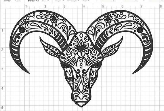 goat sheep ram mandala design svg pdf eps dxf  u0026 studio 3 cut