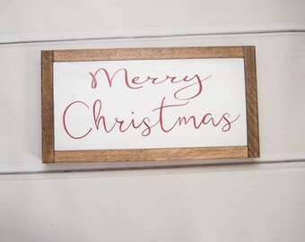Merry Christmas Sign   Mantel Decor   Christmas Cabin Decor   Rustic Christmas Decor   Holiday Decor   Framed Christmas Sign
