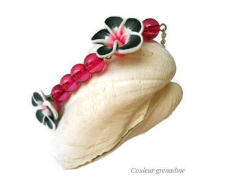 Bracelet Bohemian tiara clay flower polymer clay and beads, gift idea for large party day, Easter