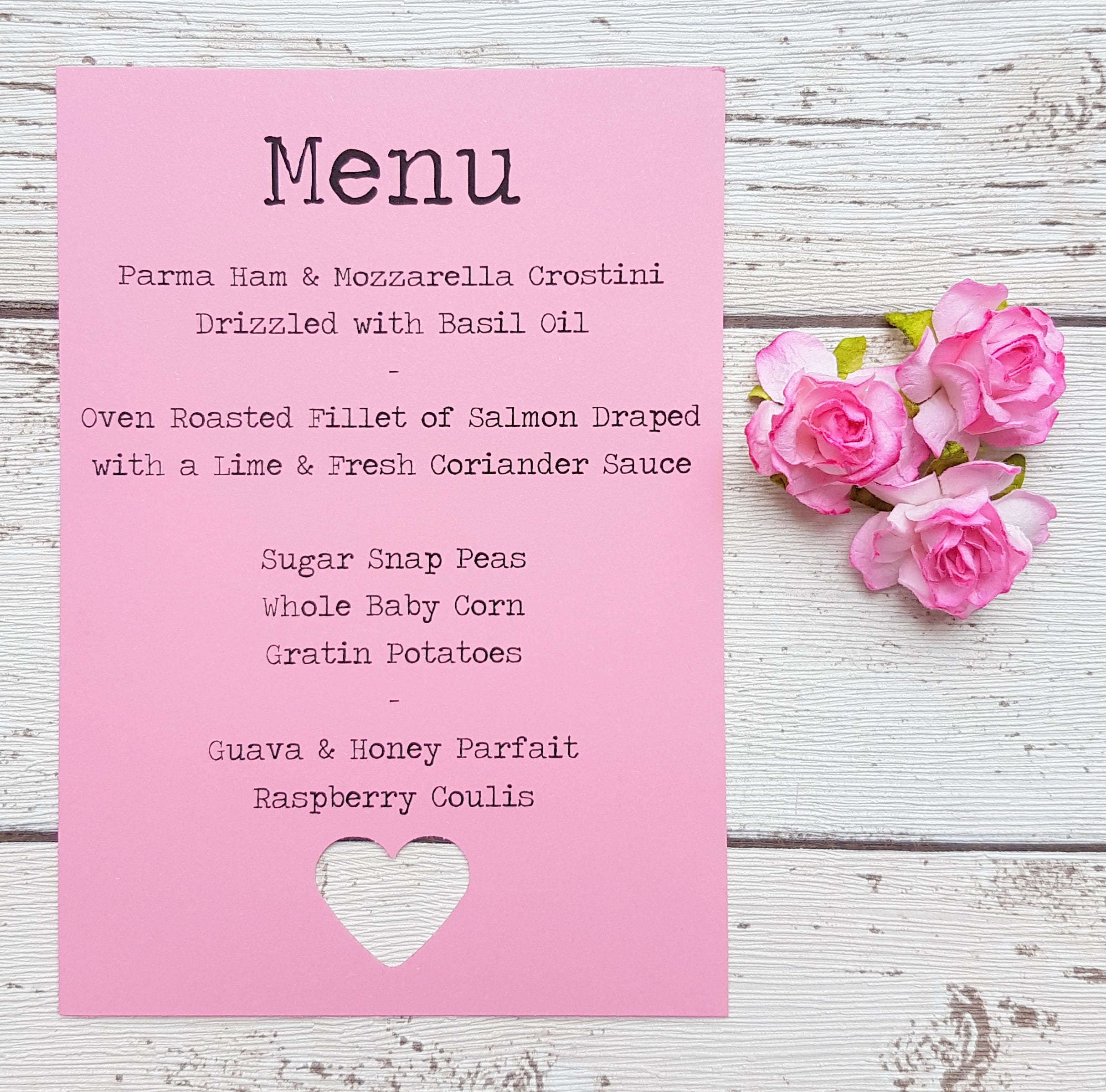 Wedding menu card signs rustic style wedding menus with die cut wedding menu card signs rustic style wedding menus with die cut heart pastels mightylinksfo Choice Image