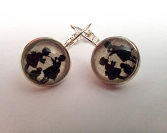 Earrings Silver 925 glass cabochon, little girls