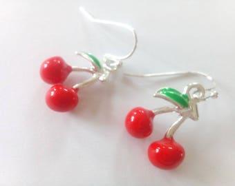 Silver cherry enamel possible mounting clips earrings