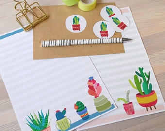 Cactus Pot Letter Writing Set - 8 sheets paper, 4 kraft envelopes, Sticker seals