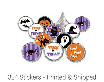 Halloween Party Favors, Halloween Party Decorations, Halloween Stickers - For Hershey Kisses, Candies and Treat Bag Seals (324 Stickers)