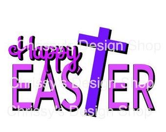 Happy Easter religious cross svg / inspirational easter svg / easter cut file / dxf / eps / png / easter art svg / easter cross svg