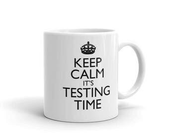 Keep Calm Testing Time school tests tea mug,coffee mug,drinking mug, school exams,college exams,teachers mug,teachers gifts,keep calm mug