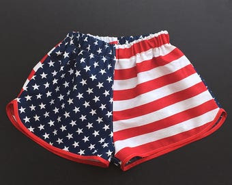 American Flag Shorts, Stars & Stripes, 4th. of July Cotton Shorts, American Flag Shorts, Patriotic Beach Shorts
