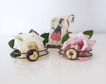 Ancient bronze bracelets with Strawberry and violet flower