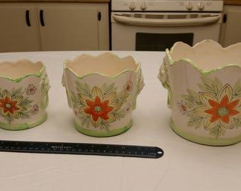 3 piece antique set lions head floral design planter pots - porcelain ceramic flowers vintage art deco nesting green orange house plants