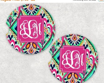 FRIYAYsale Monogrammed Car Coasters - Moroccan - Cup Holder Coasters Personalized Sandstone Coasters Car Accessories For Women Gifts For Her
