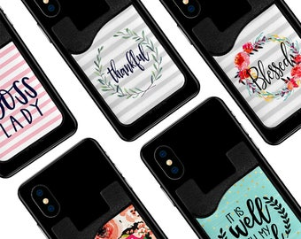 Phone Cleaning Cloth  with Card Caddy - Inspirational Quotes On The Go Phone Card Holder - 15 Options Credit Card Holder