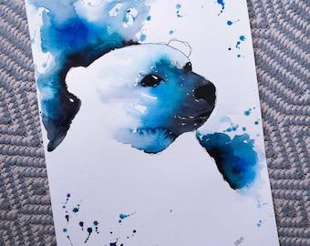 A3 King of the Arctic, Polar Bear. Original watercolour painting.