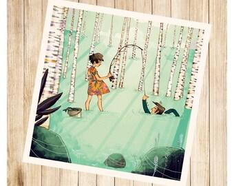 """""""Lili à la pêche"""", carte postale carrée."""