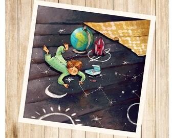 """""""Paulo et son système solaire"""", carte postale carrée."""