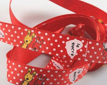 1 meter of Ribbon red and white patterned Bunny and writing sugar - 15mm