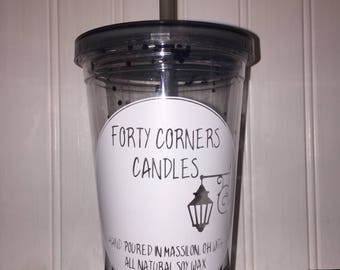 Forty Corners Candles tumbler, forty corners candles, plastic Tumblers, candles,