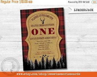 50% OFF SALE LUMBERJACK Invitation, Lumberjack First Birthday Invitation, Lumber Jack, Forest, Wood, Plaid, Wilderness, First Birthday