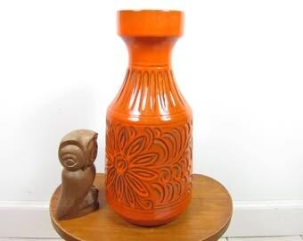 Orange retro West-Germany vase Small 70