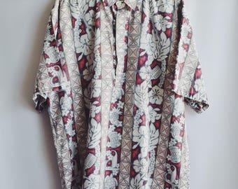 Shirt Vintage Hawaiian flowers red & white