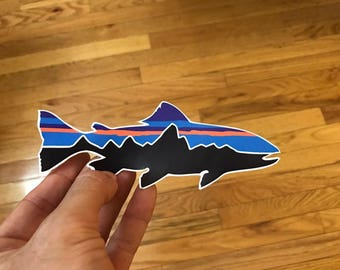 Patagonia 6x2 Trout Sticker Decal Fishing Hiking Camping **FREE SHIPPING**