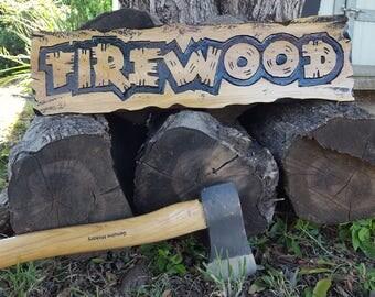 Custom Carved Firewood Sign