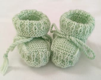 Hand Knitted Booties in Apple Green  colour.