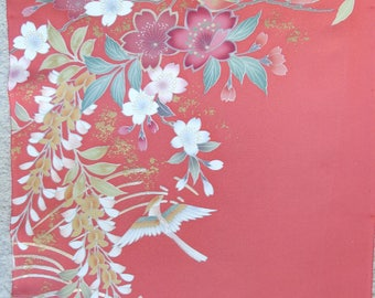 Japanese Silk KIMONO Fabric - Wisteria and Four Seasons' Flowers 2
