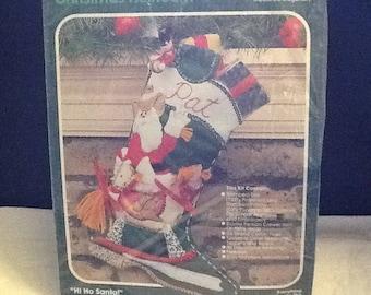 Vintage Bucilla Hi Ho Santa Stocking Kit