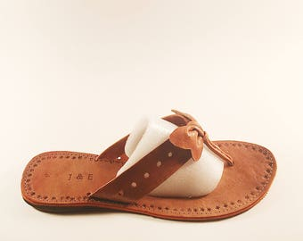 Brown Leather Bow Flip Flop Size 9
