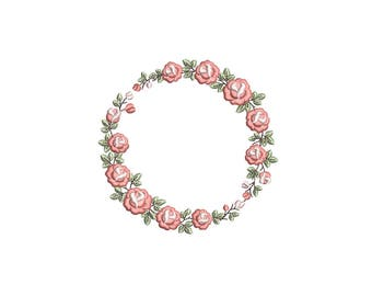 Wreath of Roses machine embroidery design. Floral circle monogram frame embroidery pattern. 3 sizes. Instant download