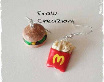 Polymer clay earrings burgers & fries
