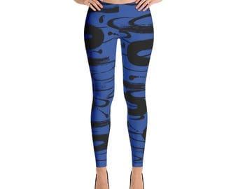 Blue and Black Swirls Adult Women's Leggings | Yoga Leggings | Fitness Leggings | Outfit Leggings
