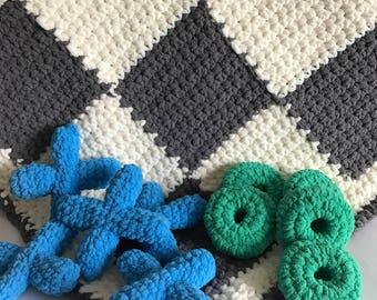 Crocheted Tic-Tac-Toe Blanket
