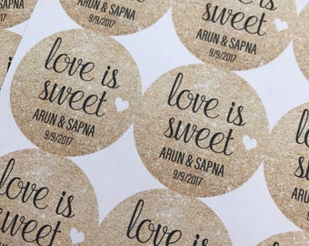 Love is Sweet, Wedding Favors, Wedding Favor Stickers, Custom Stickers, Love is Sweet Stickers, Wedding Stickers, 20StickersLC