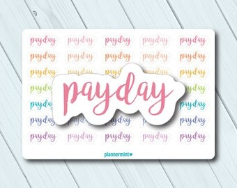 Payday Stickers - Planner Stickers - Multicolor - Erin Condren Life Planner - Happy Planner - Word Outlines - Money - Matte or Glossy