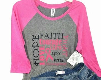 womans Breast Cancer awareness shirt / Cancer awareness / womans raglan  / cancer tshirt / fight for a cure shirt /cancer awareness