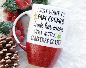 Christmas Mug / Christmas Glitter Mug / Holiday Coffee Mug / Christmas Coffee Mug / Hot Cocoa Mug / Christmas Mug Cozy / Glitter Coffee Mug