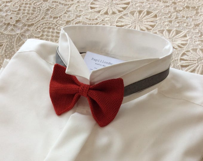 Knit tie, 100% silk, Red/Red