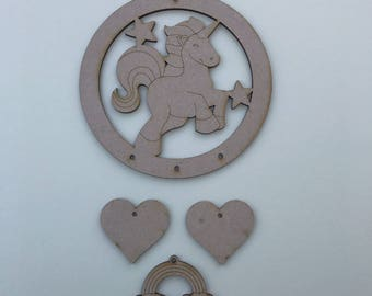 MDF Dream Catcher ready to decorate, choose your hanging shapes Unicorn C