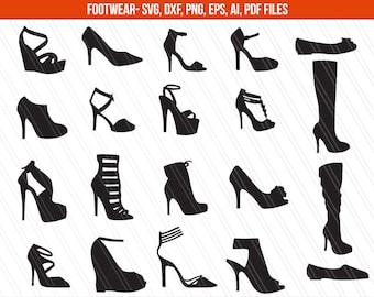 High heels SVG cut files, Dxf, Women Shoes Svg, Stiletto Shoes SVG, SVG Files, High Heels Clipart, Shoe svg- Instant Download