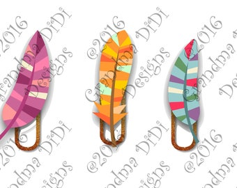 Digital Planner Clips, Feathers