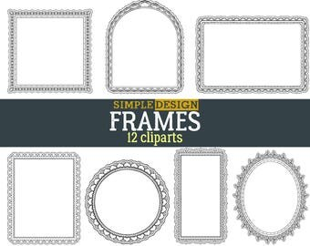 Frames clipart, Digital frames, Scrapbooking, Frame clip art, Doodle clipart, Hand drawn frames, Digital frame, Hand drawn Doodle