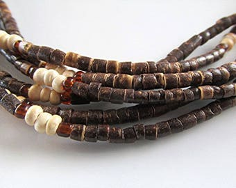 Coconut bead choker necklace coconut shell bead necklace tribal necklace boho necklace hippie necklace coconut necklace vintage boho gift.