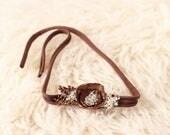 Brown Newborn Tieback - Brown Tieback - Brown Baby Headband - Neutral Newborn Tieback - RTS Newborn Props - Photo Props - Newborn Headband