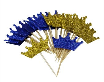 Gold Blue Prince Crown Cupcake Toppers for First Birthday Party Glitter Decorations Pack of 24