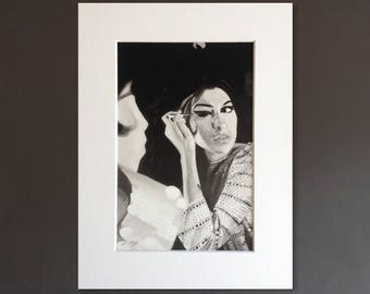 AMY WINEHOUSE wall art - giclee print of 'Back To Black' acrylic painting by Stephen Mahoney - portrait of Amy applying her eye make-up
