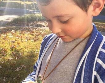 Boy's Antique Gold & Green Dinosaur Necklace