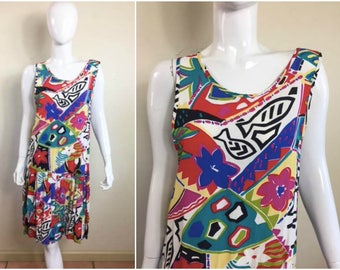 90s Vintage KIK KIN Women's Dress SZ 4 - Multicolored Abstract Drop Waist Day Dress