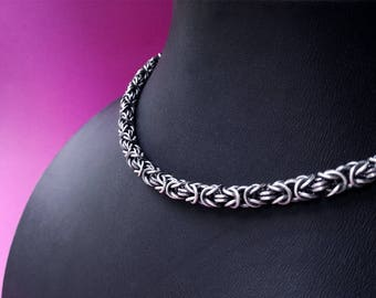 Viking necklace. King chain sterling silver byzantine necklace. Byzantine chain. Oxidized silver chainmaille necklace. Viking jewellery.